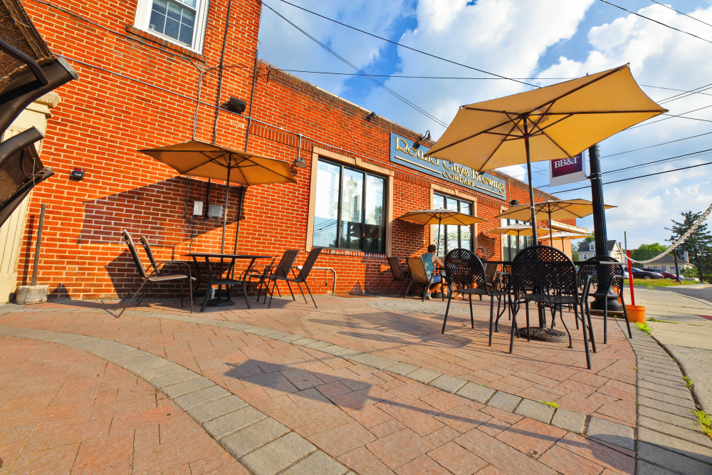 Spacious outdoor patio at Round Guys Brewing Company, located in Lansdale, PA.