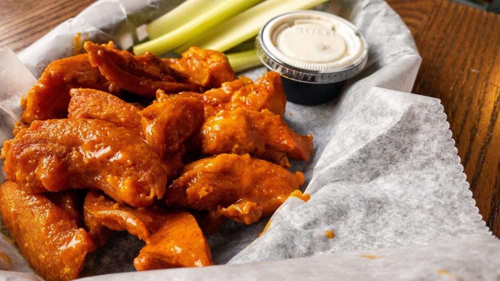 Tasty and crispy buffalo wings at Round Guys Brewing Company located in Lansdale, PA.