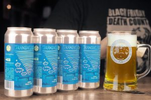Transmission New England India Pale Ale (NEIPA) brewed at Round Guys Brewing Company in Lansdale, PA.
