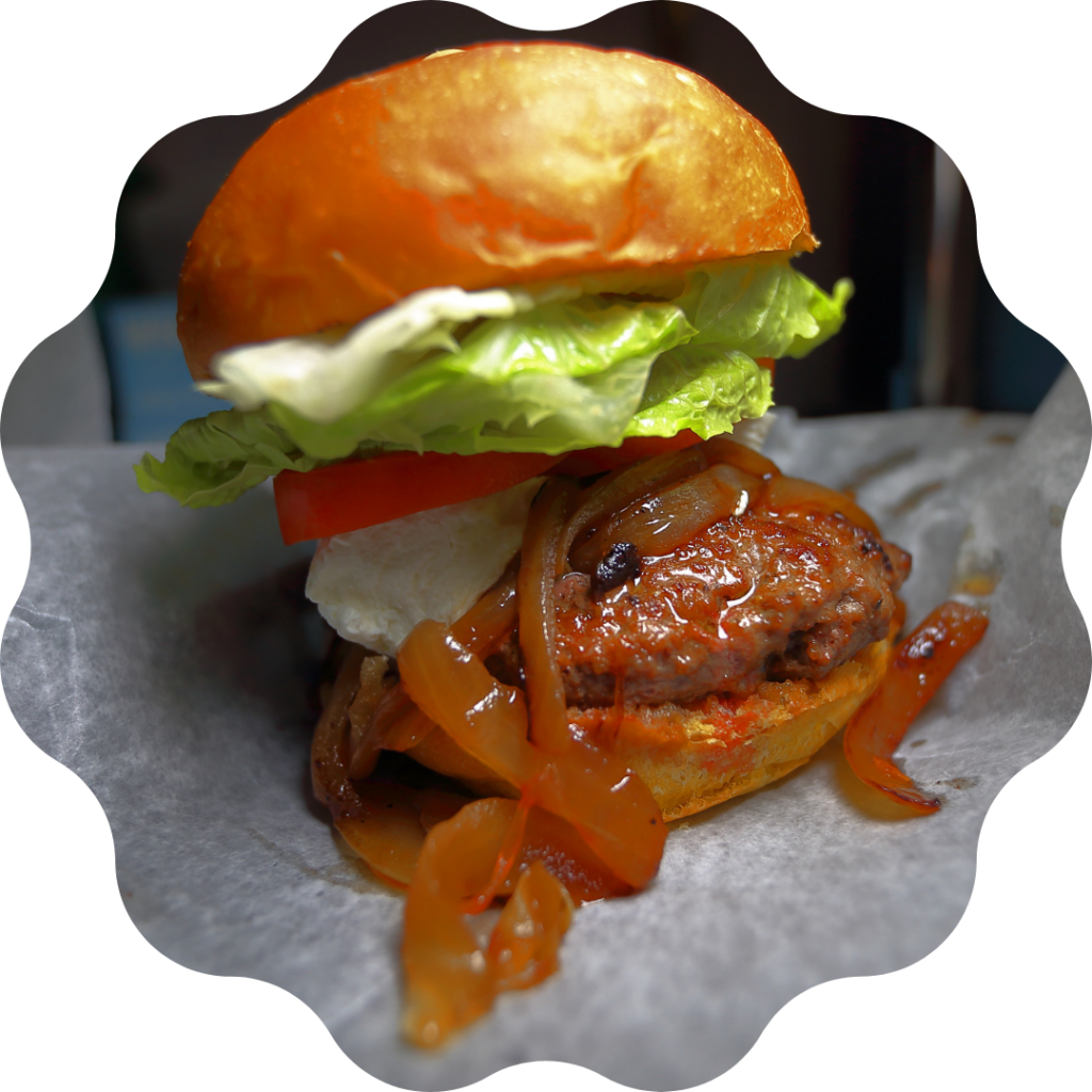Round Guys Brewing Company burger in Lansdale, PA.